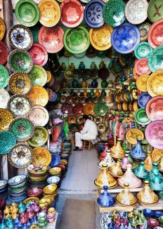Colourful tagines and plates at the Marrkesh market