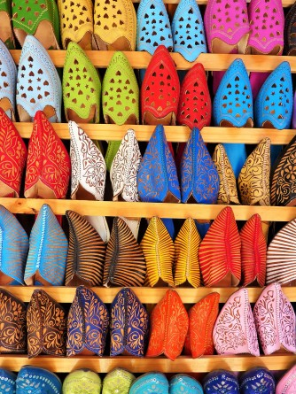 Colourful slippers in essaouira