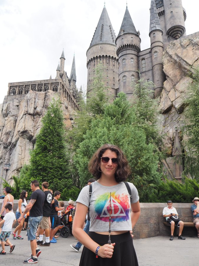 Outside the Hogwarts Castle with the Edler Wand in its place on my deathly hallows shirt (ultimate nerdnosity)