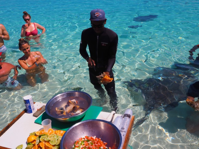 Getting a Conch Salad demo on the day trip